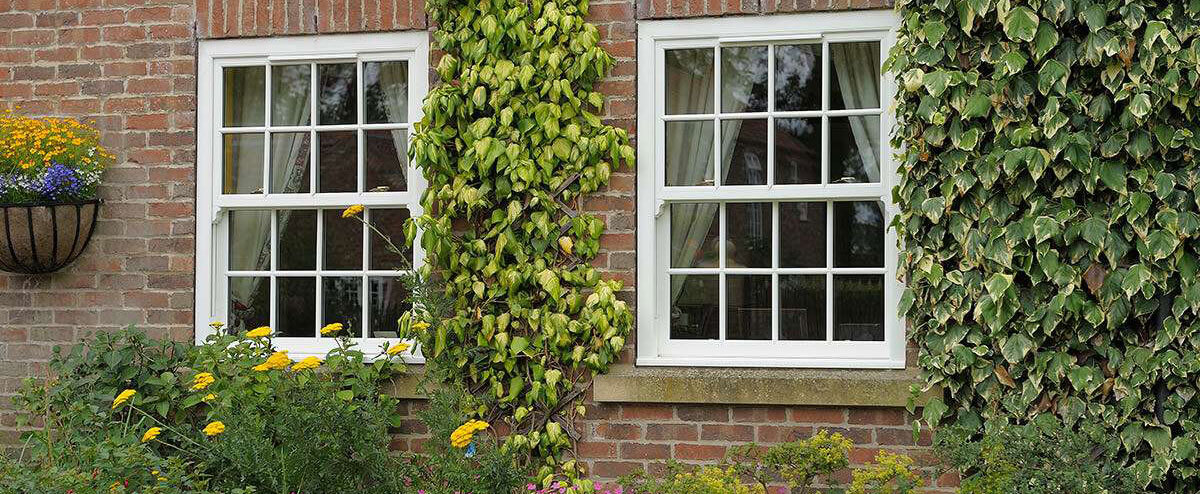 White sliding sash windows exterior